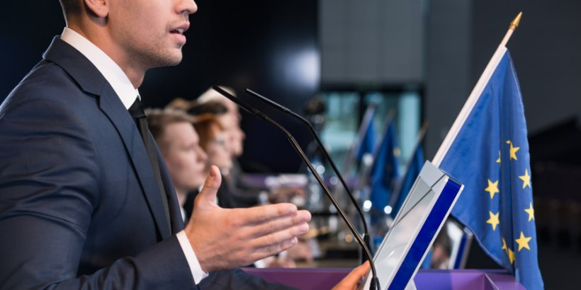 Politician giving speech in European Parliament