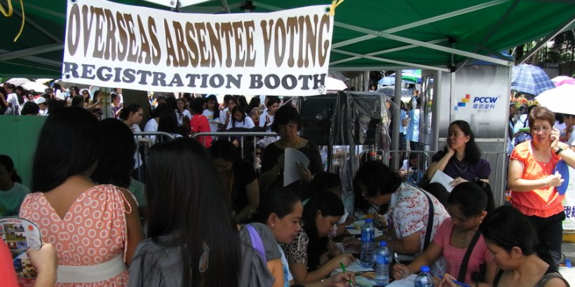 hk central zhong huan zhe da dao chater road overseas absentee voting registration booth july 2012