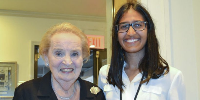 Kendra Mysore, '20, with former U.S. Secretary of State Madeleine Albright in Washington, D.C.