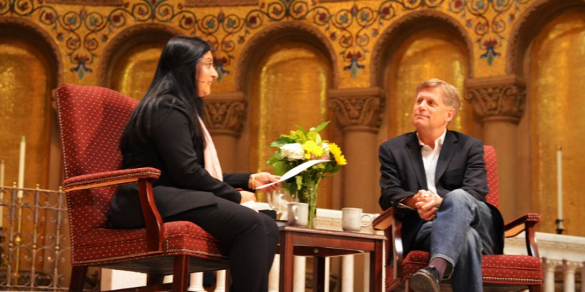 Michael McFaul sitting in Memorial Church