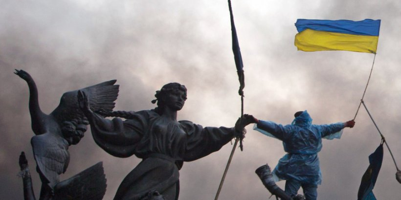 Statue of the Founders of Kiev during the Maidan Revolution