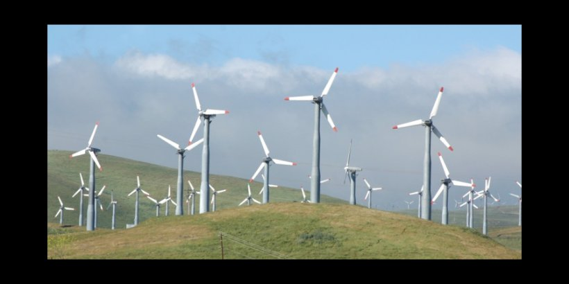 wind mills blue green Kevin Conners headliner