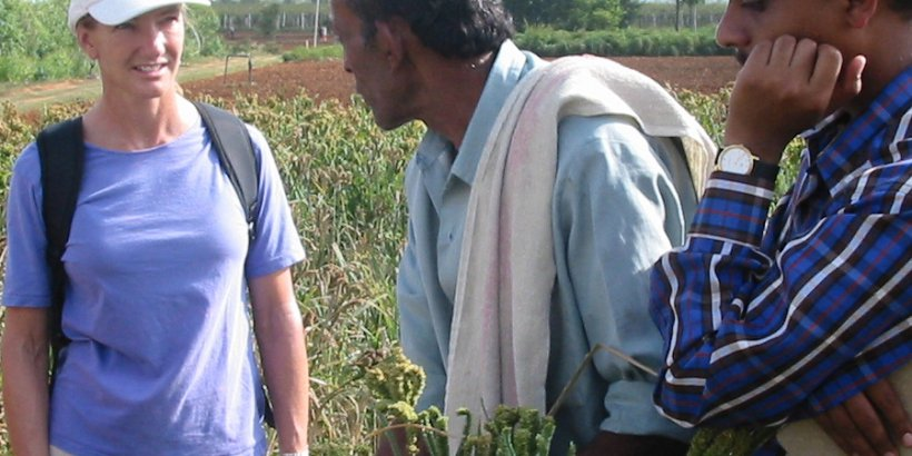 Roz with farmer1 India