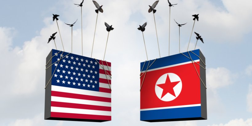 3D illustration for the concept of U.S.-North Korea diplomacy: U.S. and DPRK flags carried from strings by birds on a sky background
