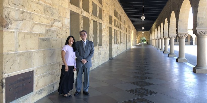 Sabrina Ishimatsu and Tsuyoshi Kudo in the Quad, Stanford University