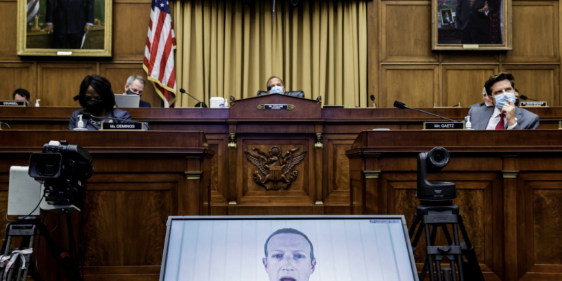 Facebook CEO Mark Zuckerberg testifying on Capitol Hill, July 2020