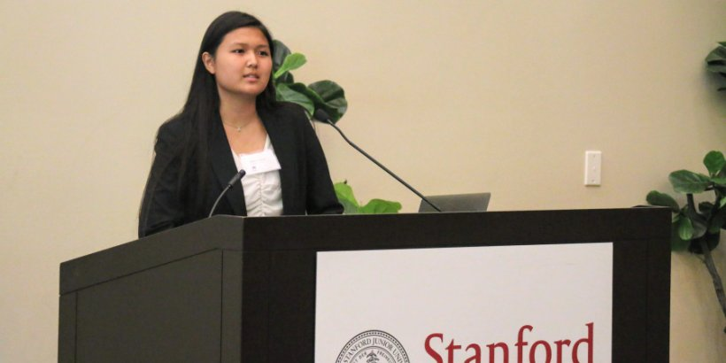 Reischauer Scholars Program honoree Stacy Shimanuki presents her research at Stanford University during Japan Day 2018