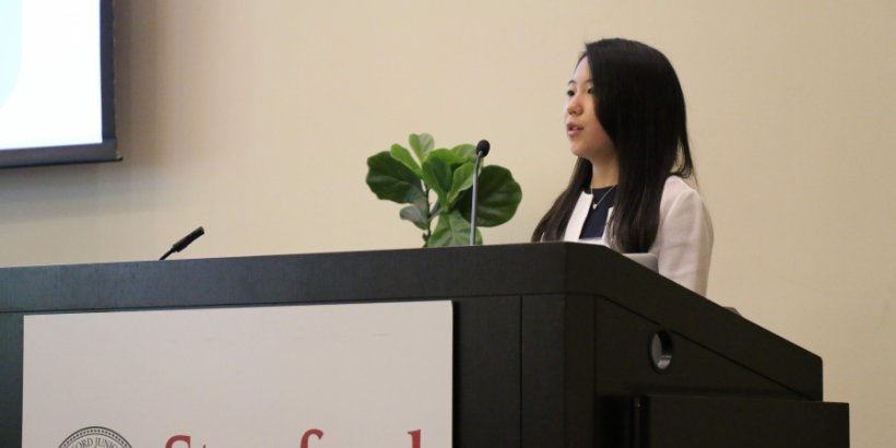 High school student Amane Kishimoto, an honoree of the Stanford e-Japan online course, speaks at Stanford University