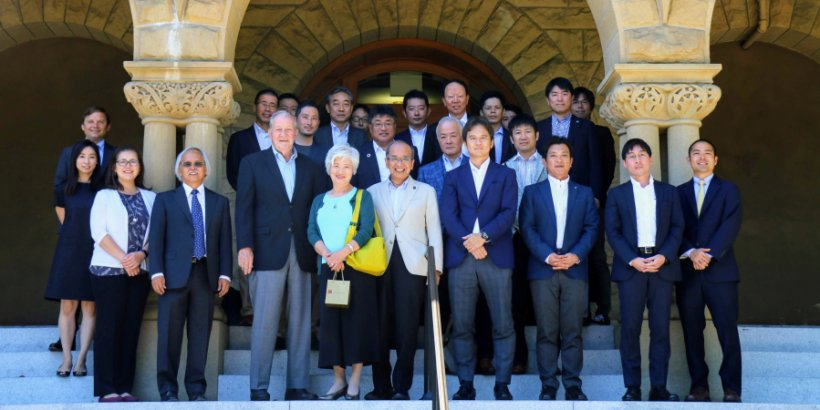 Visitors from Oita Prefecture visit Stanford for the opening ceremony of the Stanford e-Oita online course for high school students.