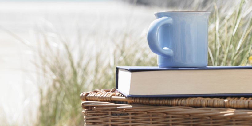 Picnic basket with book and cup on beach