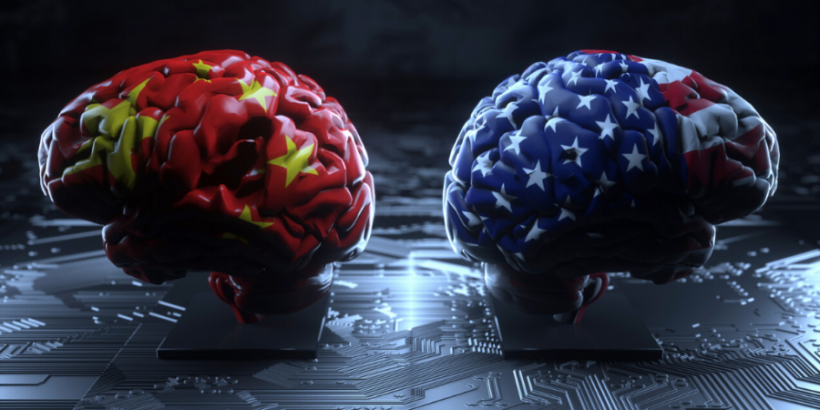 Concept of U,S.-China technology competition: brain-shaped boxing gloves covered in U.S. and China flags facing against each other on a background of a motherboard