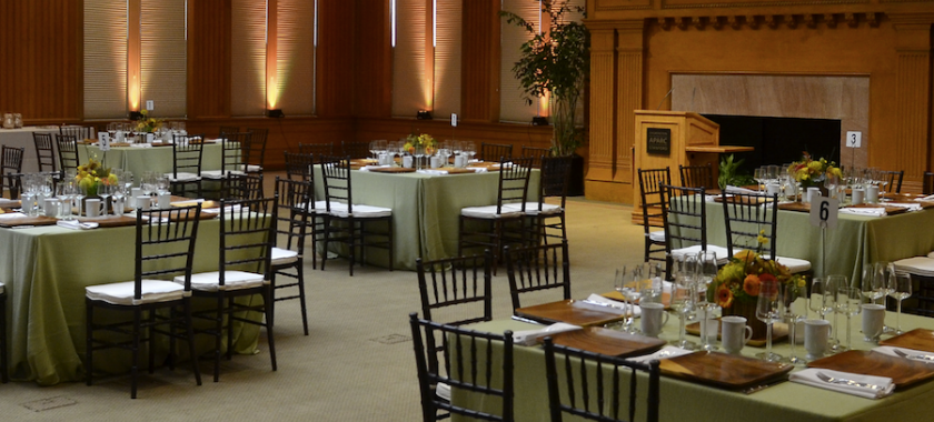 Image of Tables Arranged for Dining in Bechtel Conference Center