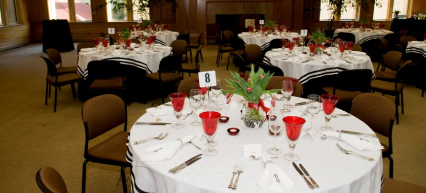 Tables arranged in Bechtel Conference for Dining