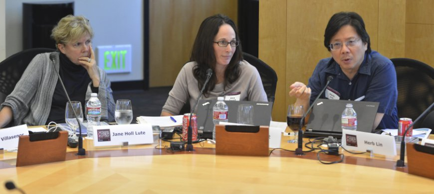 Jane Holl Lute, Amy Zegart and Herb Lin at the cybersecurity boot camp, Aug. 18, 2014.