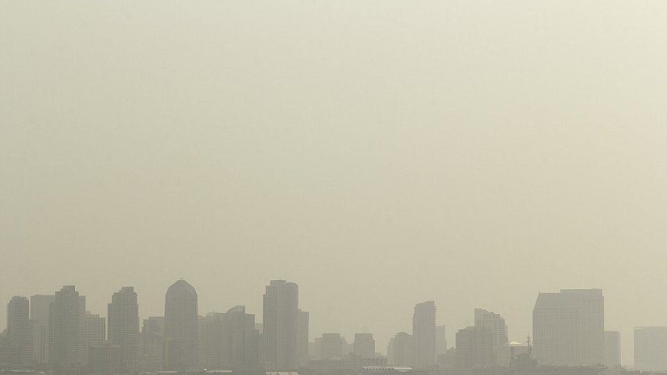 A brown, smokey skyline