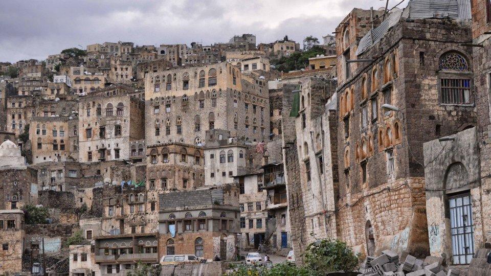 Buildings in a dense neighborhood in Yemen