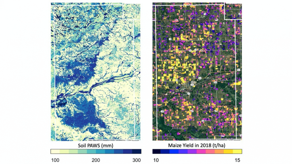 satellite maps showing soil moisture and maize yields