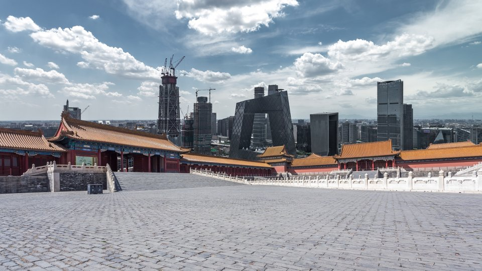 Ancient and modern buildings in Beijing