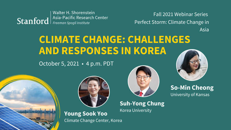 Solar panels, portraits of Young Sook Yoo, Suh-Yong Chung, and So-Min Cheong, with text about climate change challenges and responses in Korea