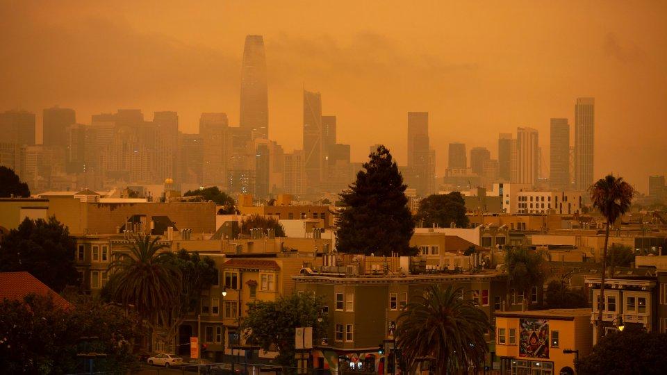 Smokey orange skies over San Francisco