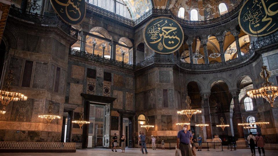 Tourists at the Hagia Sophia