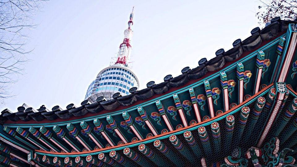 Low angle view of Namsan tower against clear sky, Seoul, Korea.