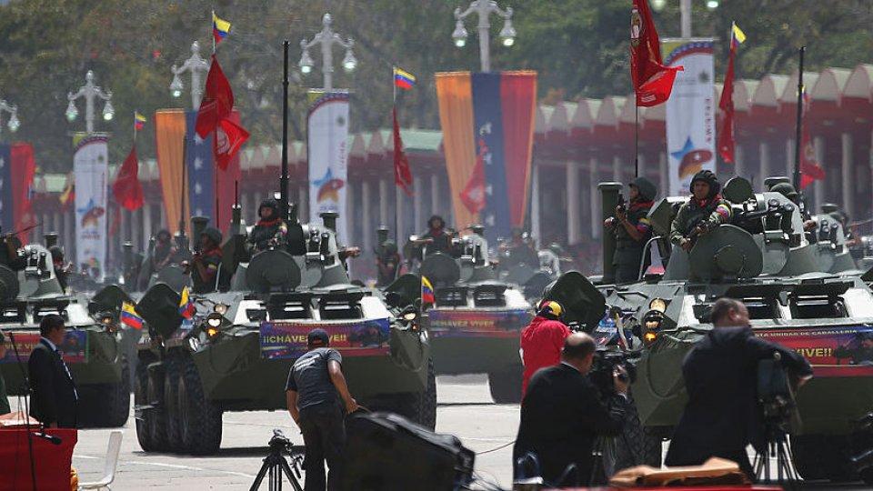military tanks with Venezuelan flags