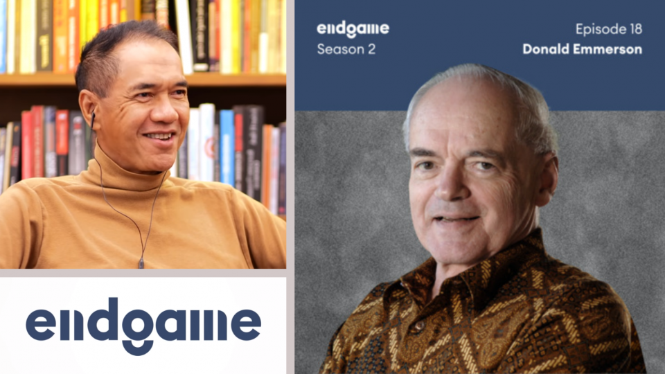 [Left] Gita Wirjawan and the Endgame logo; [Right] Donald K. Emmerson