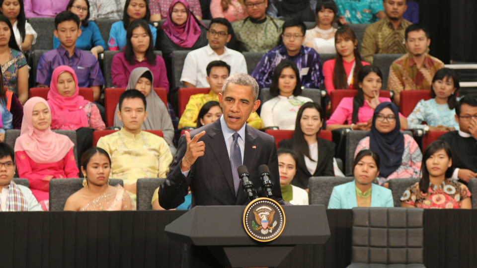 Barack Obama addresses a crowd of young leaders from ASEAN nations.