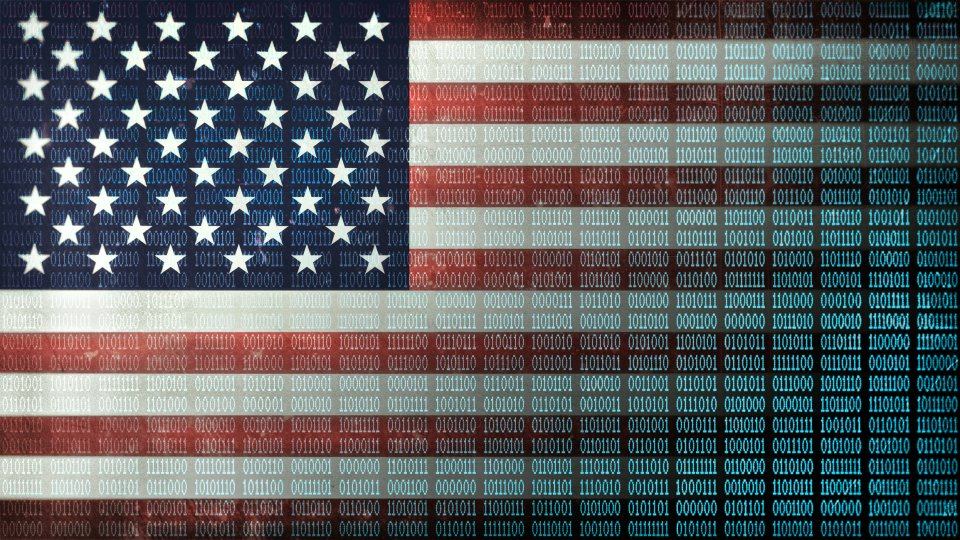 A US flag with binary code