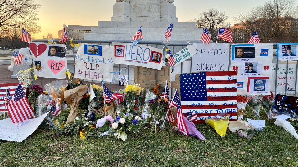 A memorial to Capitol Police Officer Brian Sicknick, who was killed by pro-Trump rioters on Jan. 6