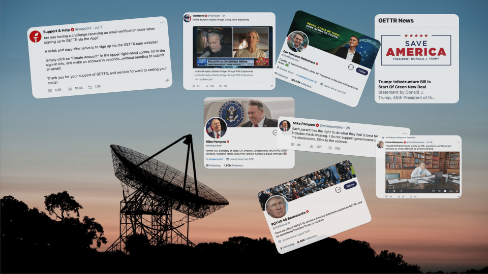 A collage of Gettr posts against a backdrop of a radiotelescope at dusk