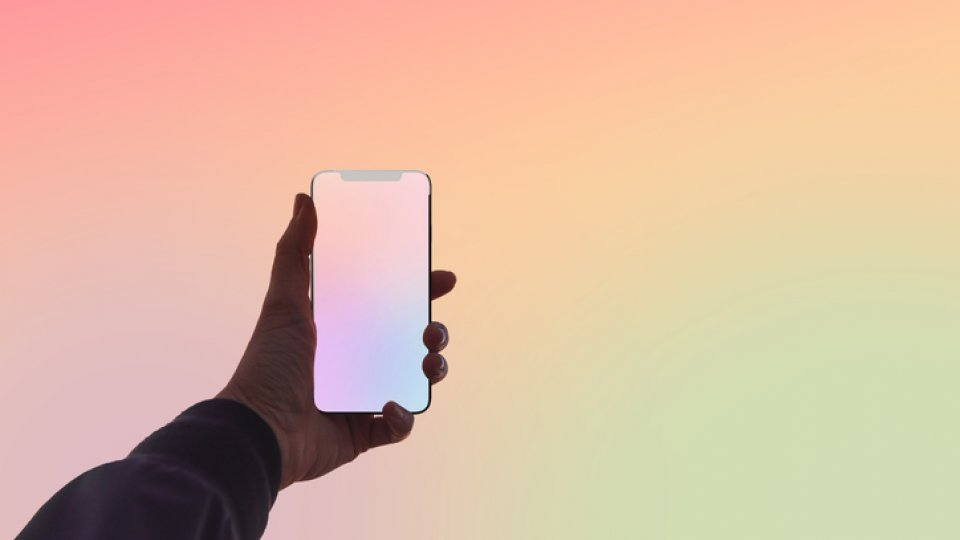getty image of person holding transparent phone