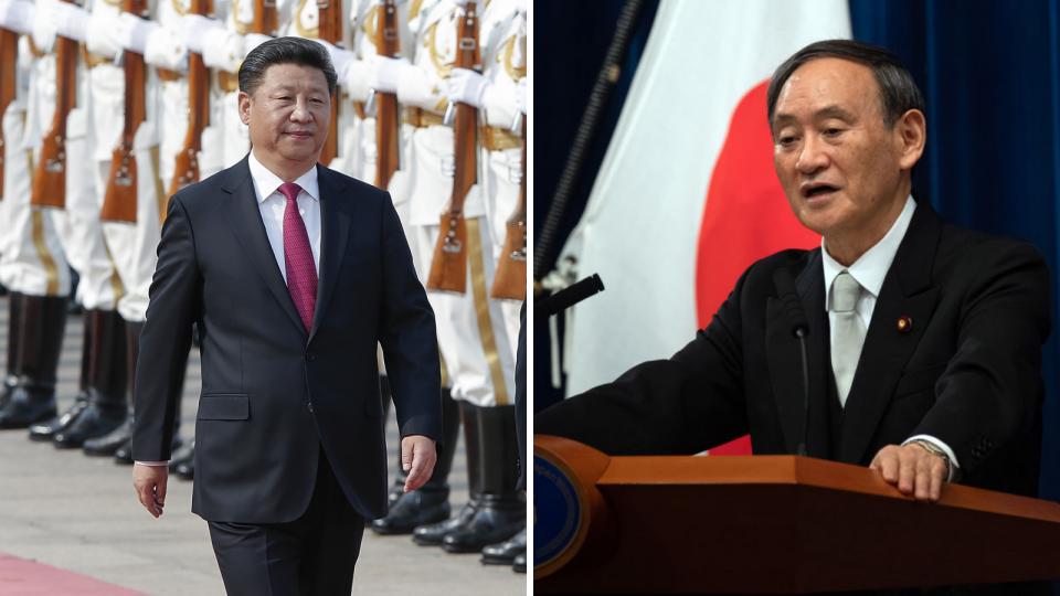 Photos of China's Xi Jinping walking and Japan's Yoshihide Suga speaking at a podium