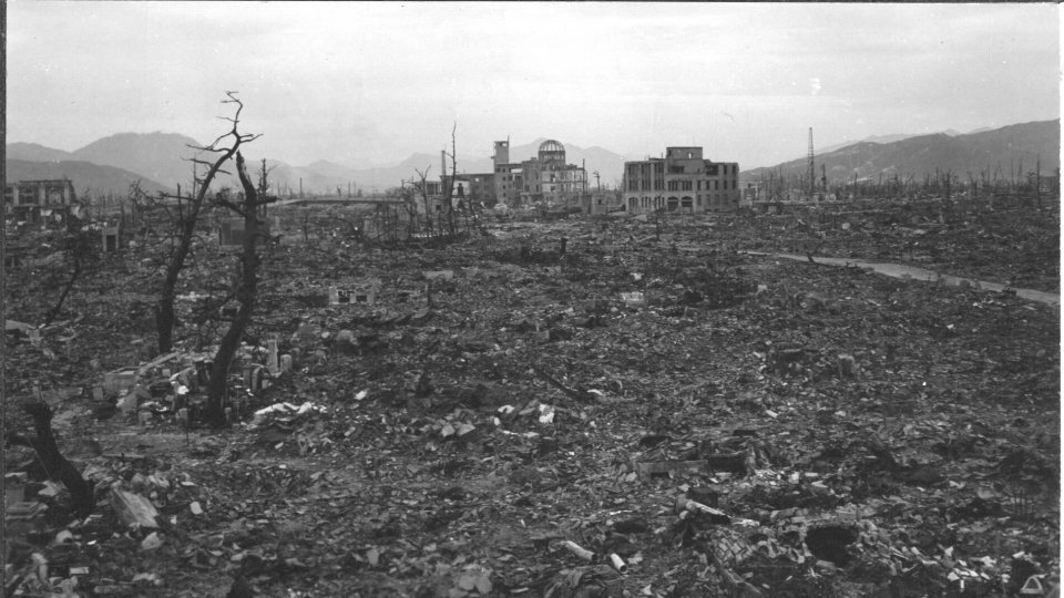 Hiroshima bombing site where everything is destroyed.
