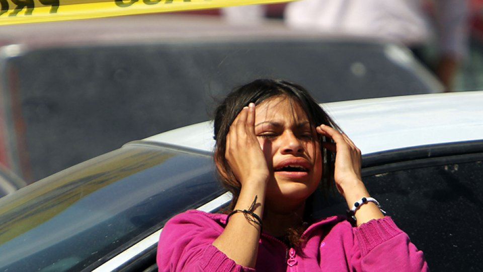 A woman in Mexico grieves