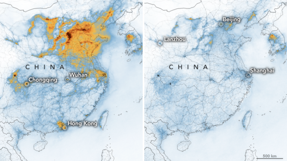 nitrogen dioxide density change in china due to coronavirus