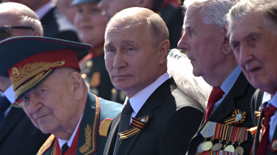 Vladamir Putin at a Victory Day military parade in the Red Square, Moscow
