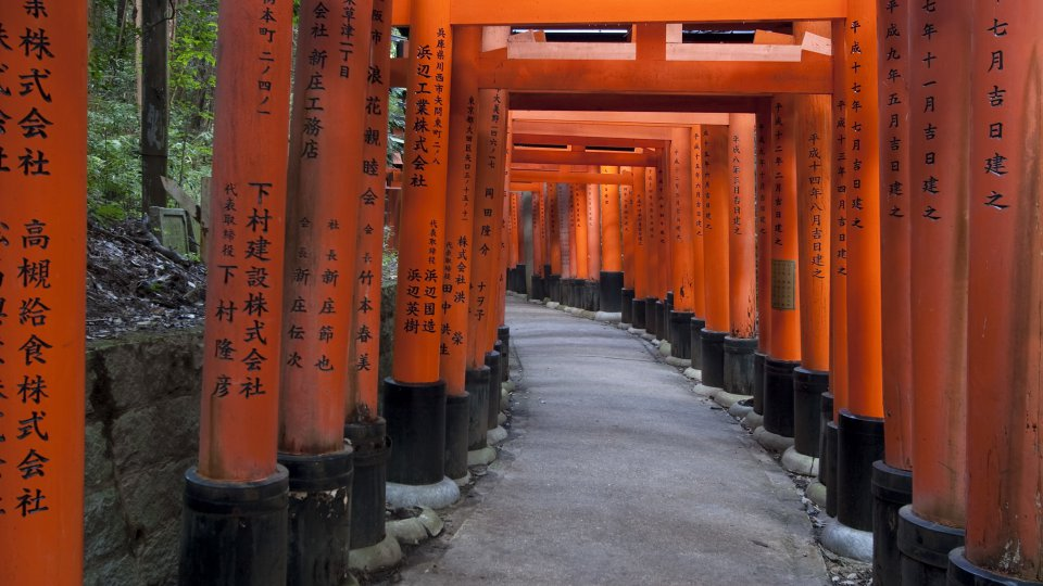 Red Gates (Tori) to the main temple to Fushimi Inari Shrine