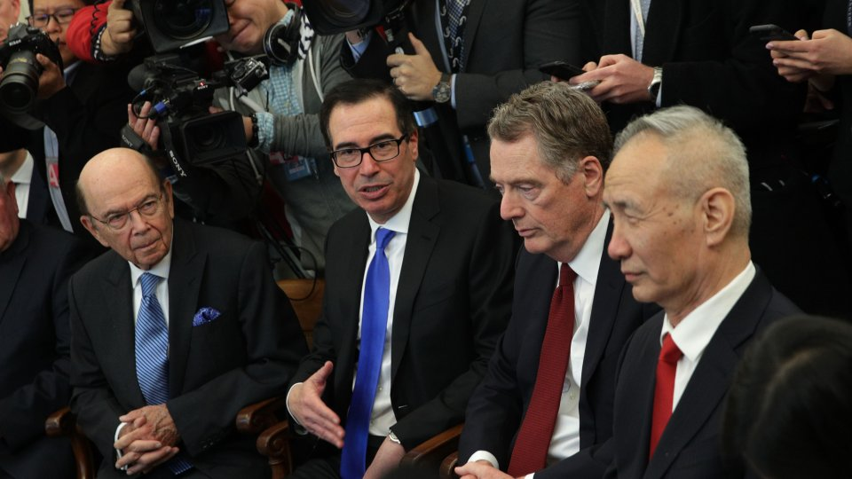 U.S. and Chinese officials meeting in the White House as part of ongoing trade negotiations.