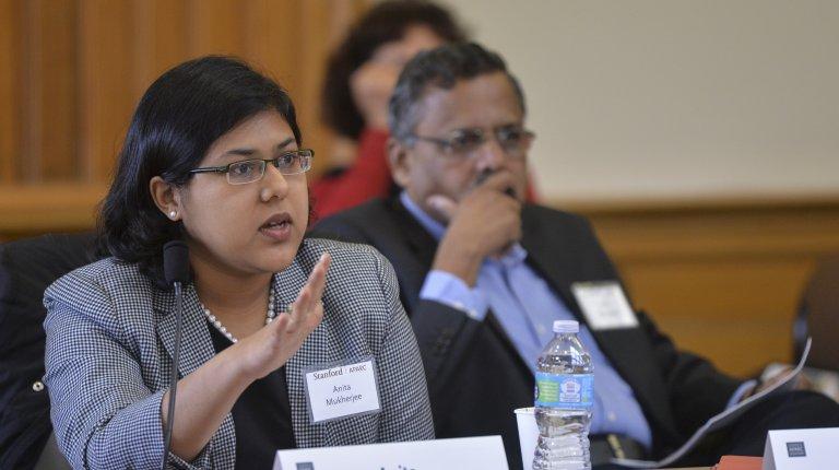 Anita Mukherjee speaks at an AHPP conference at Stanford