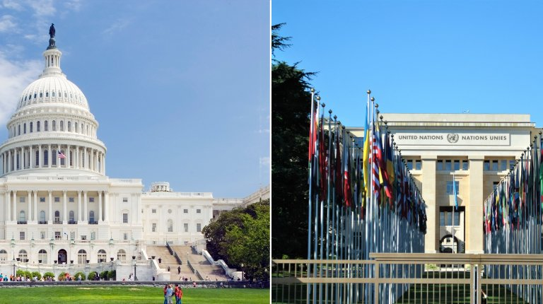 U.S. Capitol Building and UN Building in Europe