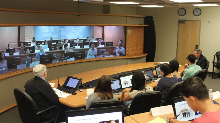 Teleconference classroom with students at Stanford and in Beijing.