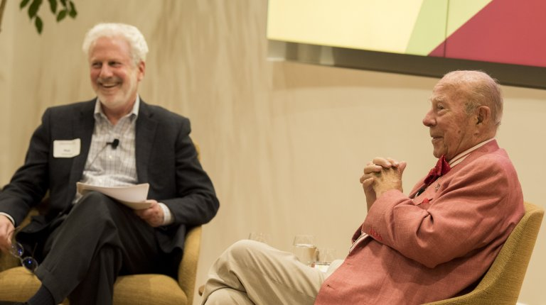 Philip Taubman and George Schultz in conversation. Credit: Steve Castillo/Courtesy Stanford Knight-Hennessy Scholars program