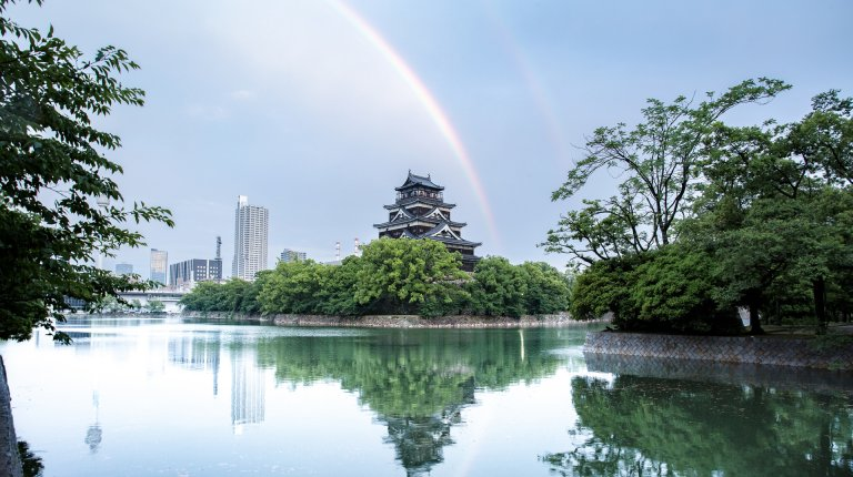 Hiroshima castle in the rainbow
