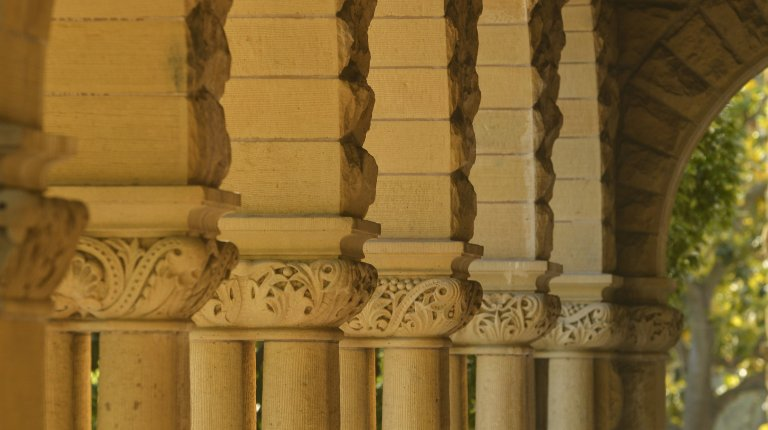 Colonade at the entrance to Encina Hall, Stanford University.