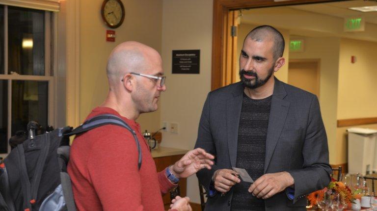 Graduate student Jacob Reidhead (left) and Koret Fellow Andray Abrahamian in conversation