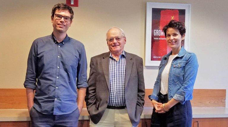 Post-doctoral fellow Sebastian Dettman, SeAP Director Donald K. Emmerson, and Lee Kong CHian Fellow Sophi Lemiere