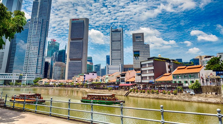 View of the Singapore River and Boat Quay with the Singapore skyline