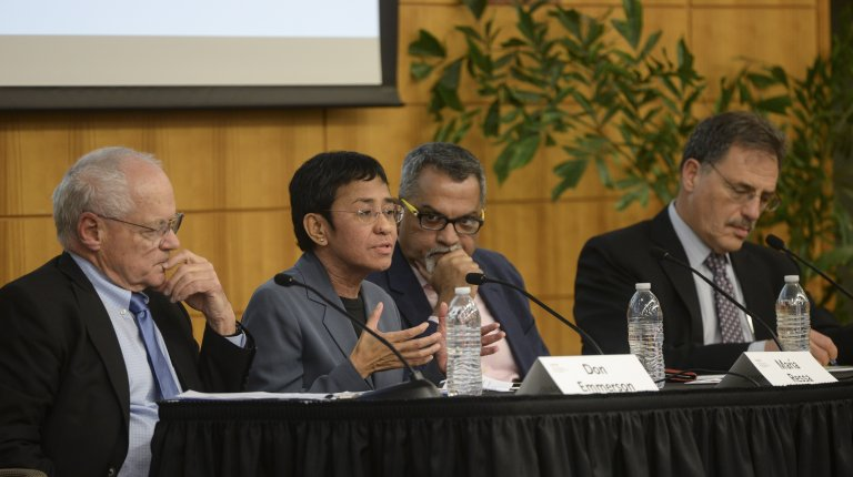 2019 Shorenstein Journalism Award winner Maria Ressa at a panel discussion with Donald K. Emmerson, Raju Narisetti, and Larry Diamond.